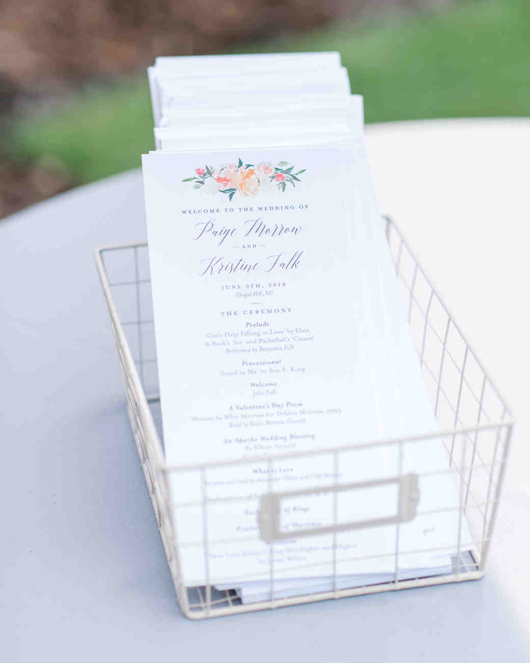 paige and kristine wedding programs