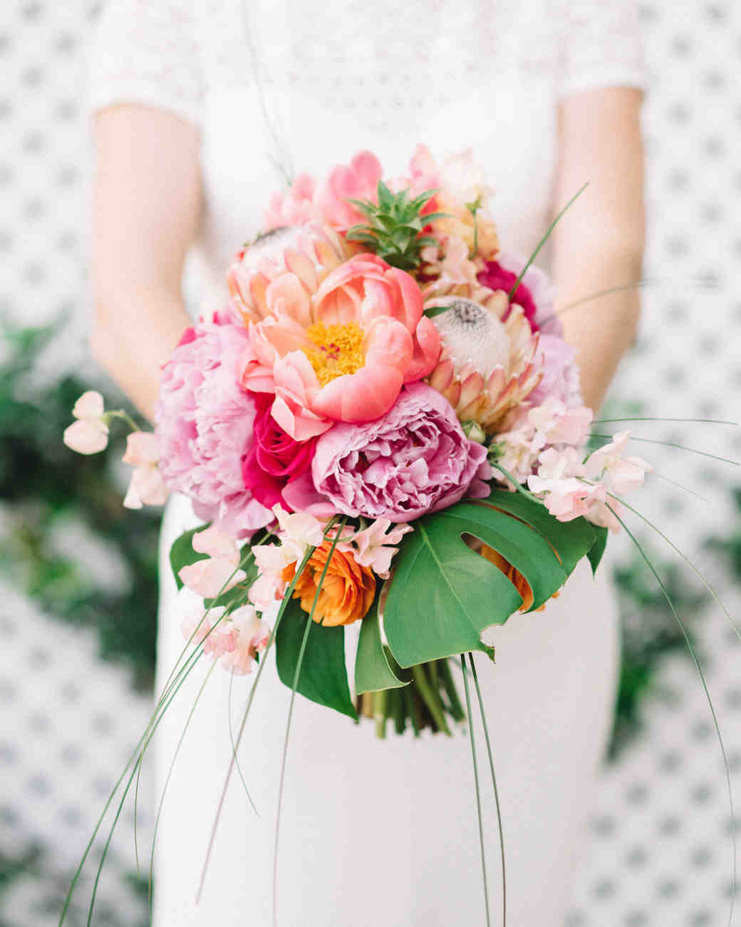 pink-and-yellow coral charm peony bouquet