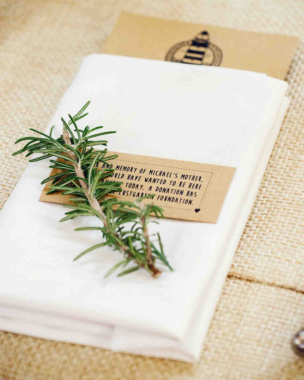 wedding in memoriam notes with greenery