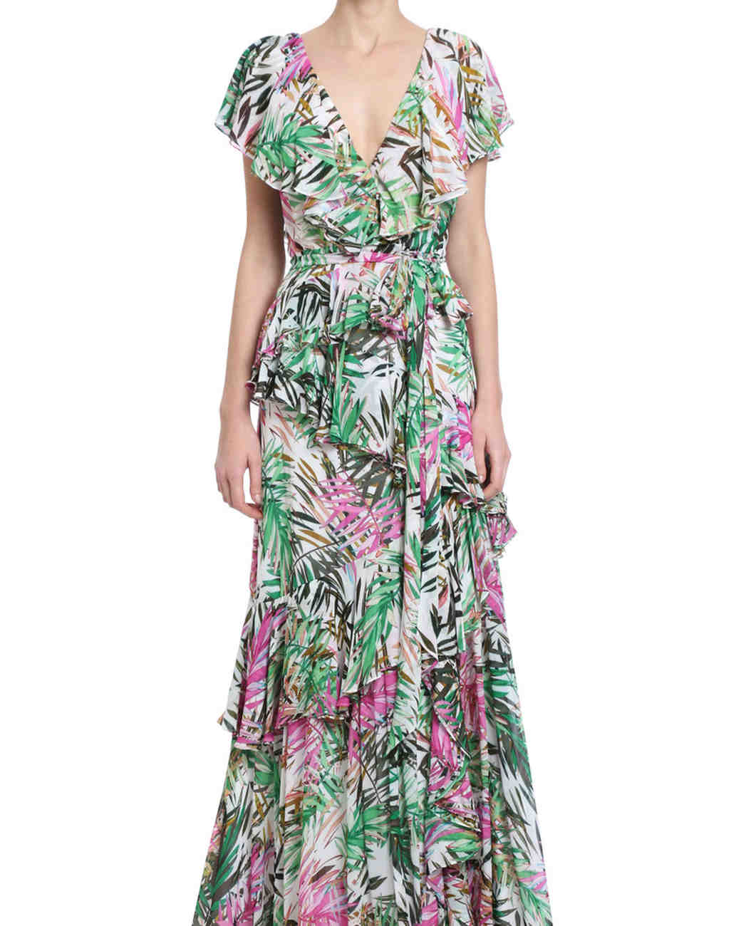 ruffled wrap palm-printed mob dress