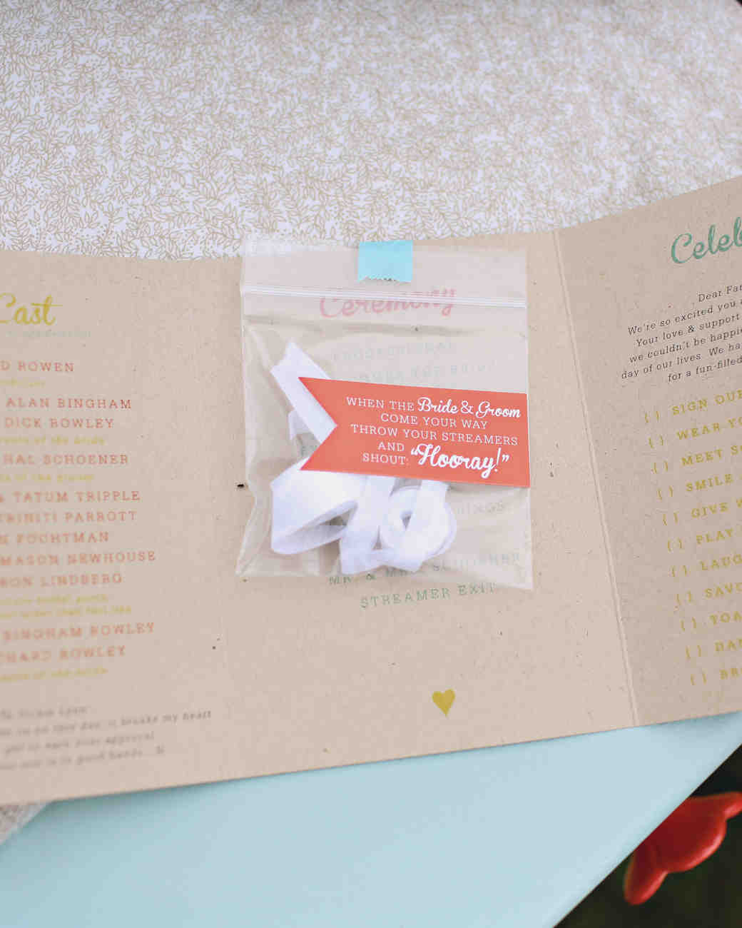 Small Bag of Paper Streamers in Wedding Program