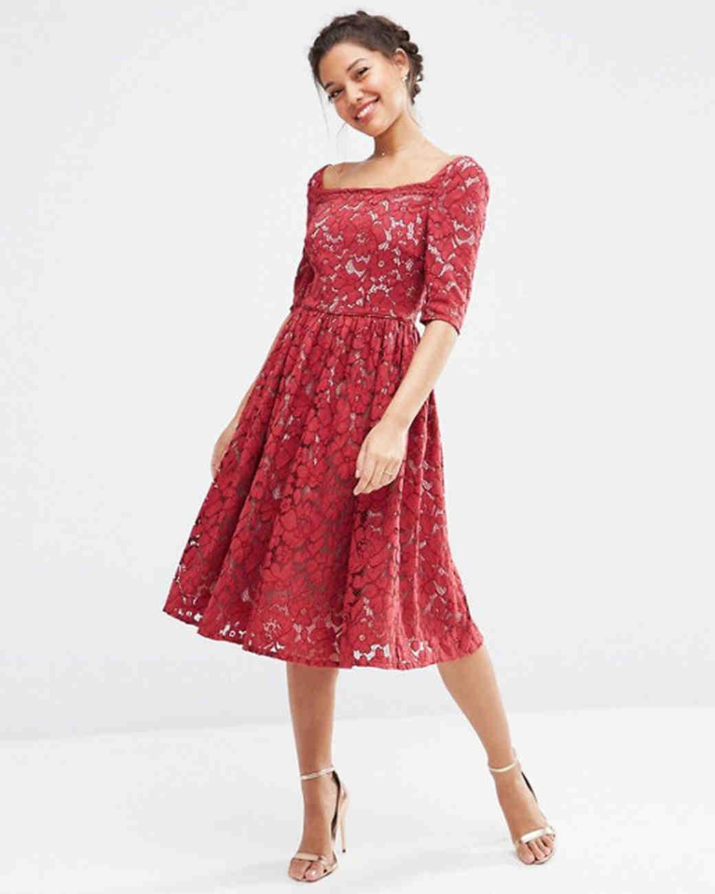 Red bridesmaid dresses martha stewart weddings ombrellifo Gallery