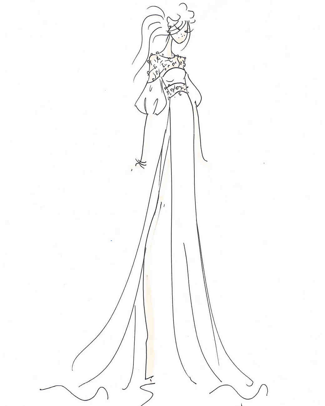 rime arodaky wedding dress sketch