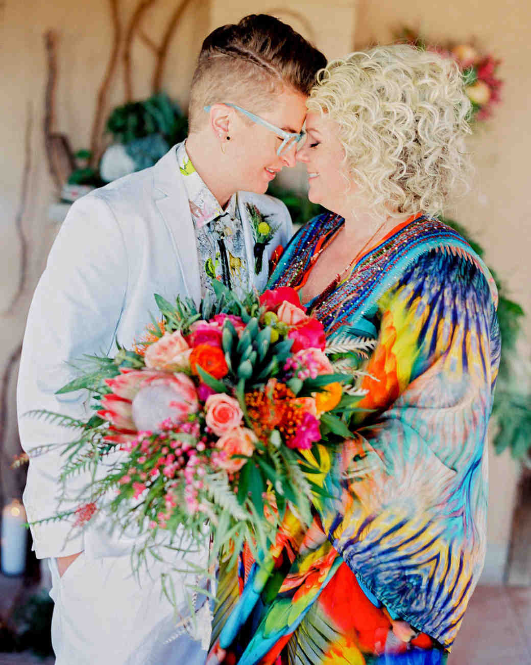 brides with colorful bouquet