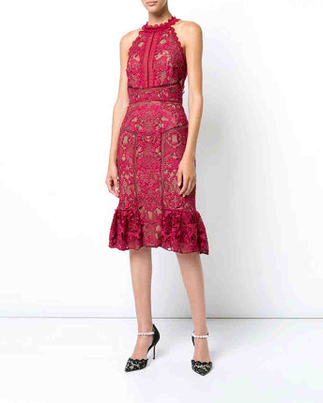 Marchesa Notte Fitted Lace Dress