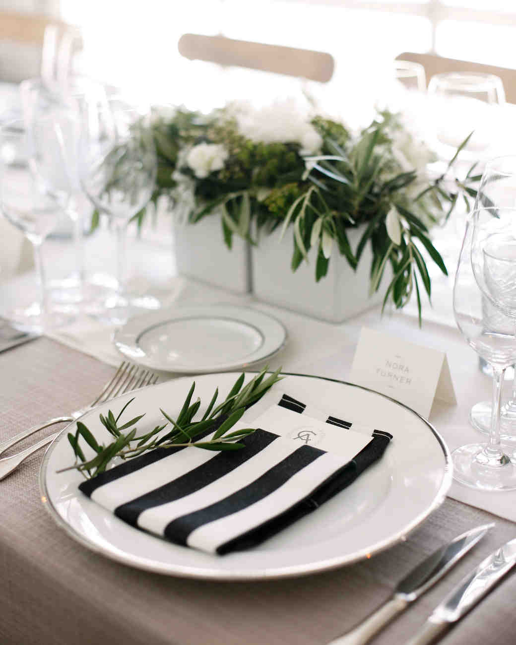 black and white striped napkin table setting