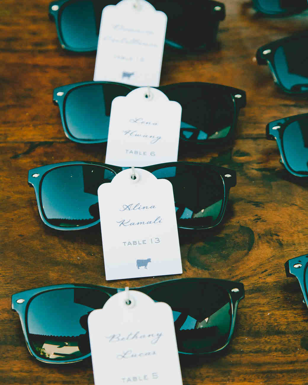 Sunglasses wedding favors and escort cards