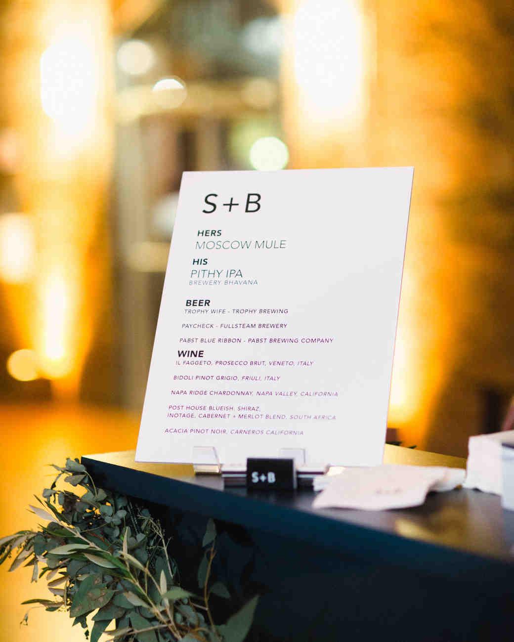 wedding food and spirits menu on display