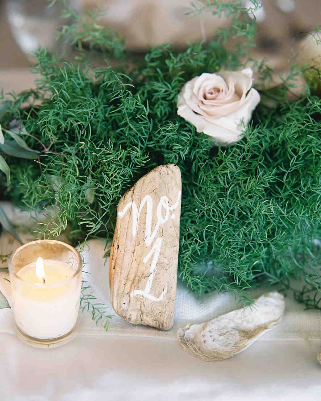 Rustic driftwood wedding table number