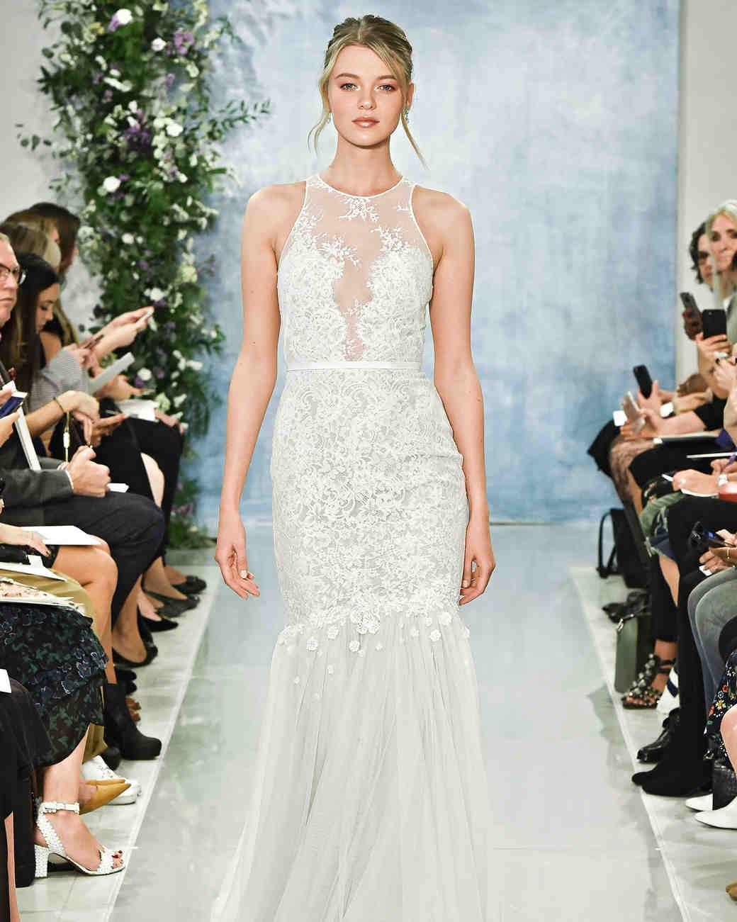 Belted Trumpet Wedding Dress