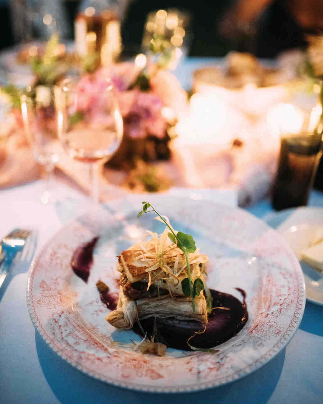 thomas jared wedding reception food table setting