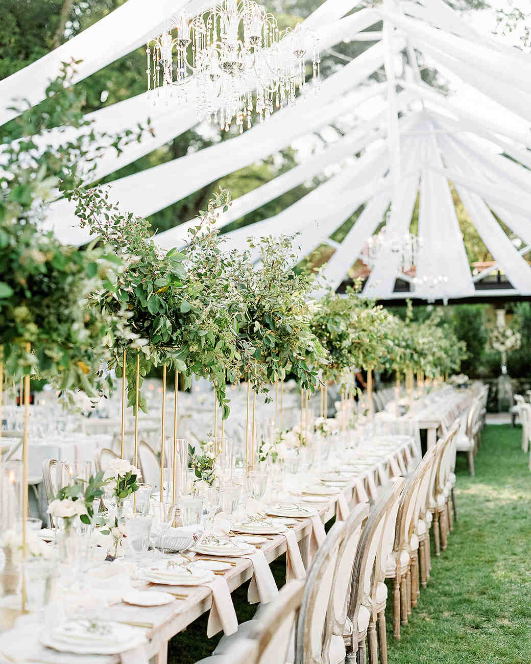 tulle draped over rafters in reception tent