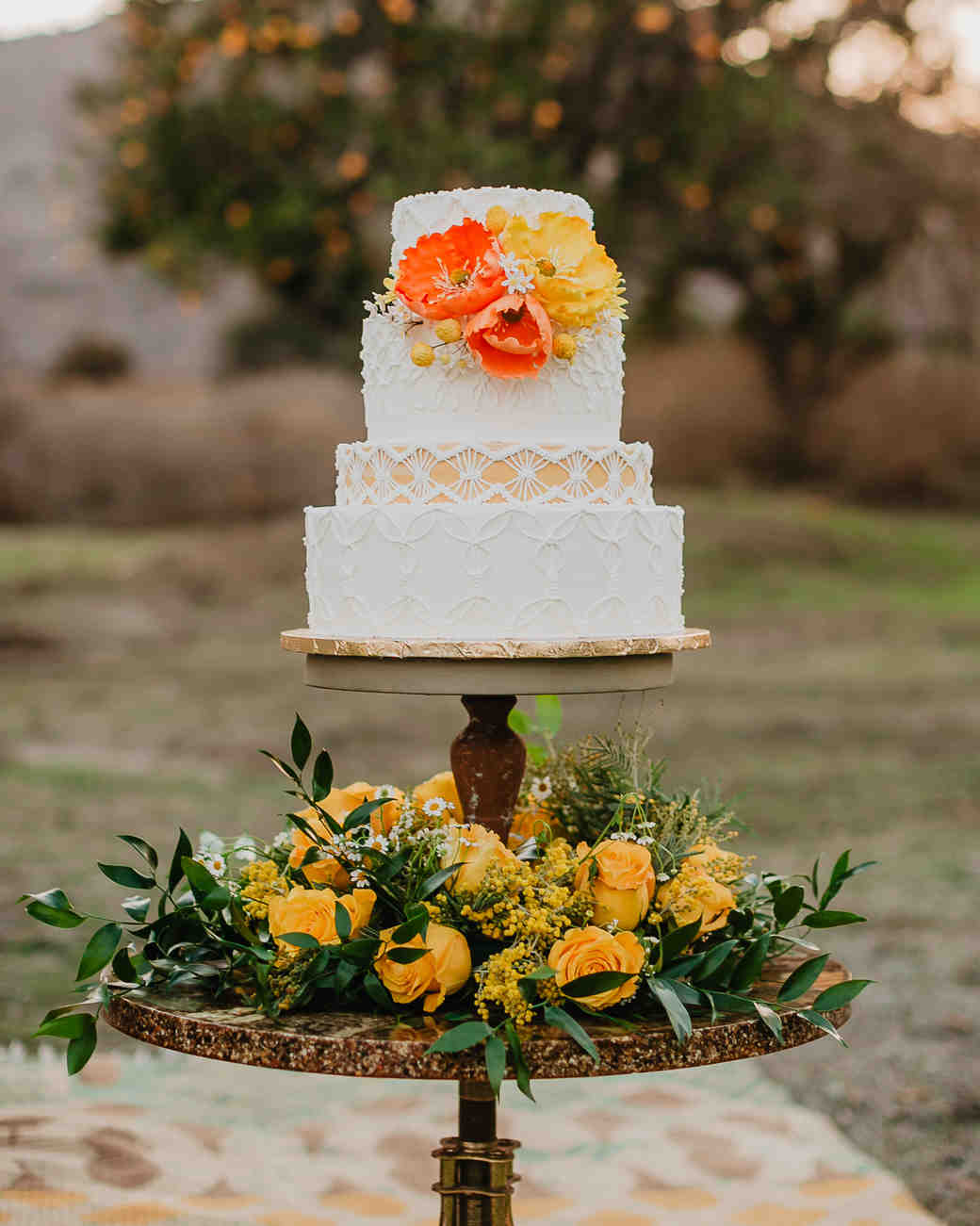wood cake stand with flowers