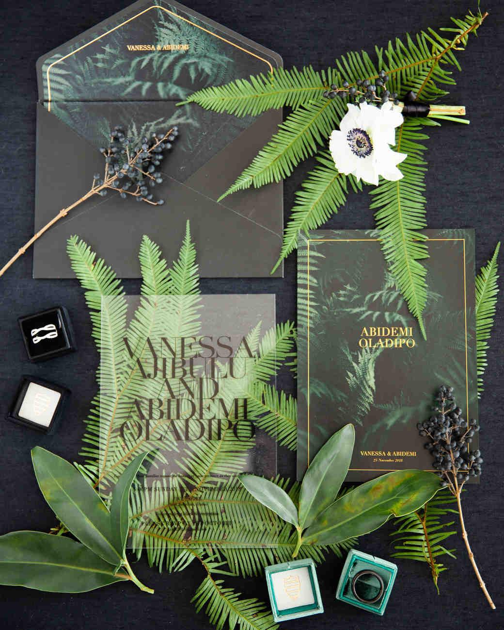 vanessa abidemi wedding palm brand and black invitations