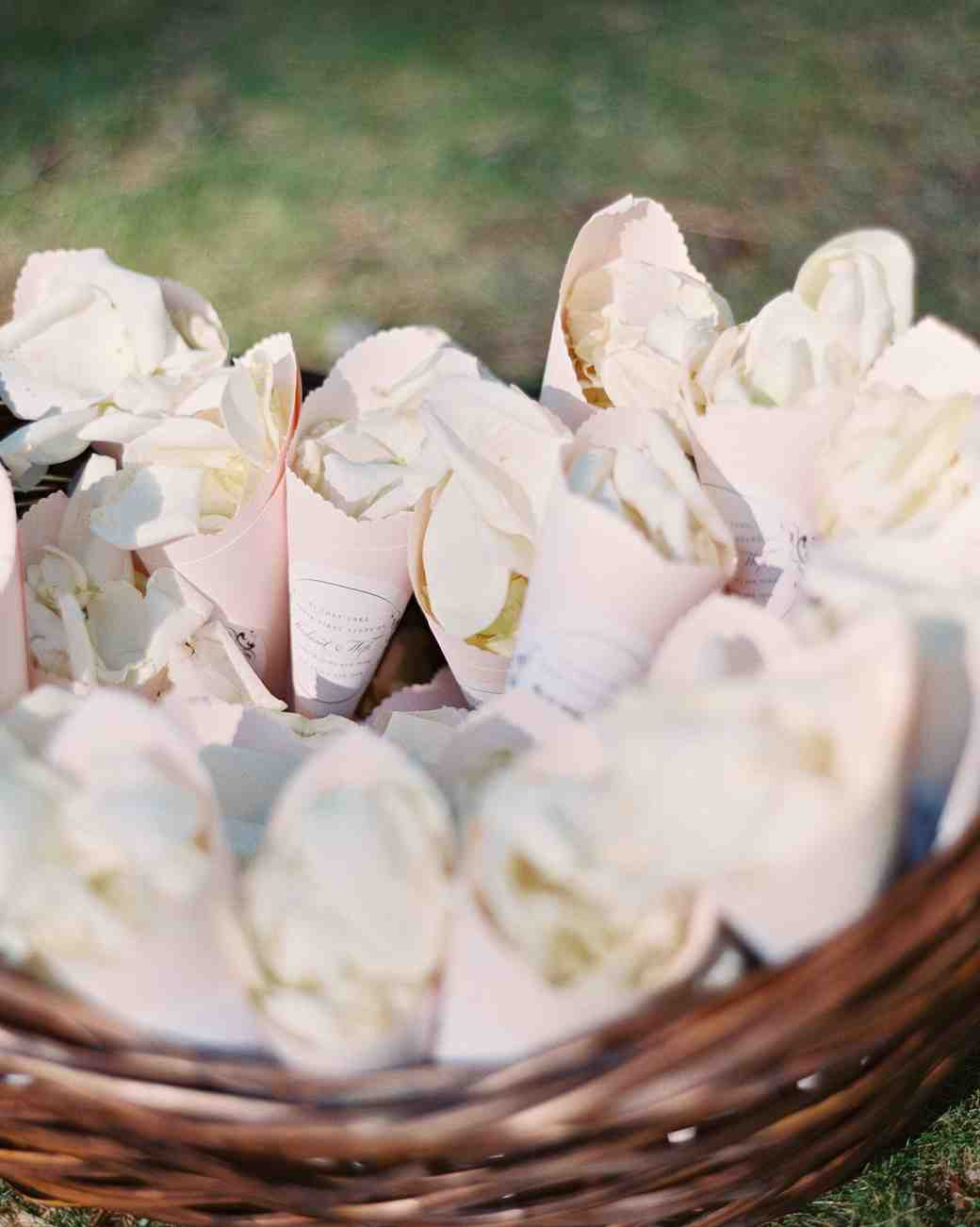 Wedding Flower Petal Bar, Cones with Petals