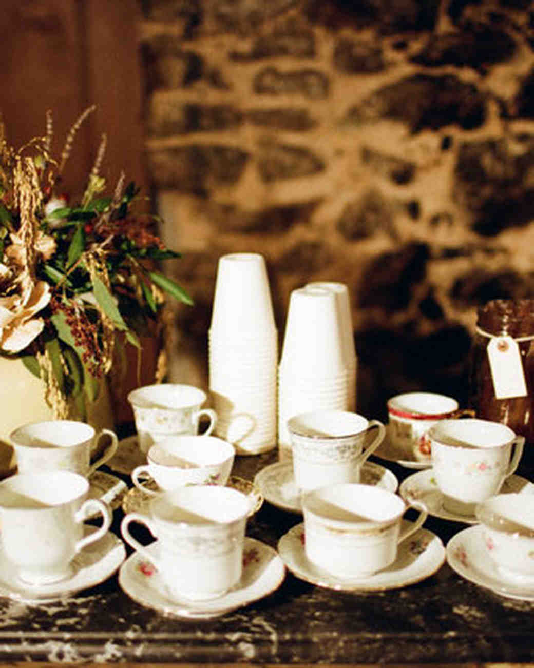 Tea Cup Display, Wedding Hot Drink Stations