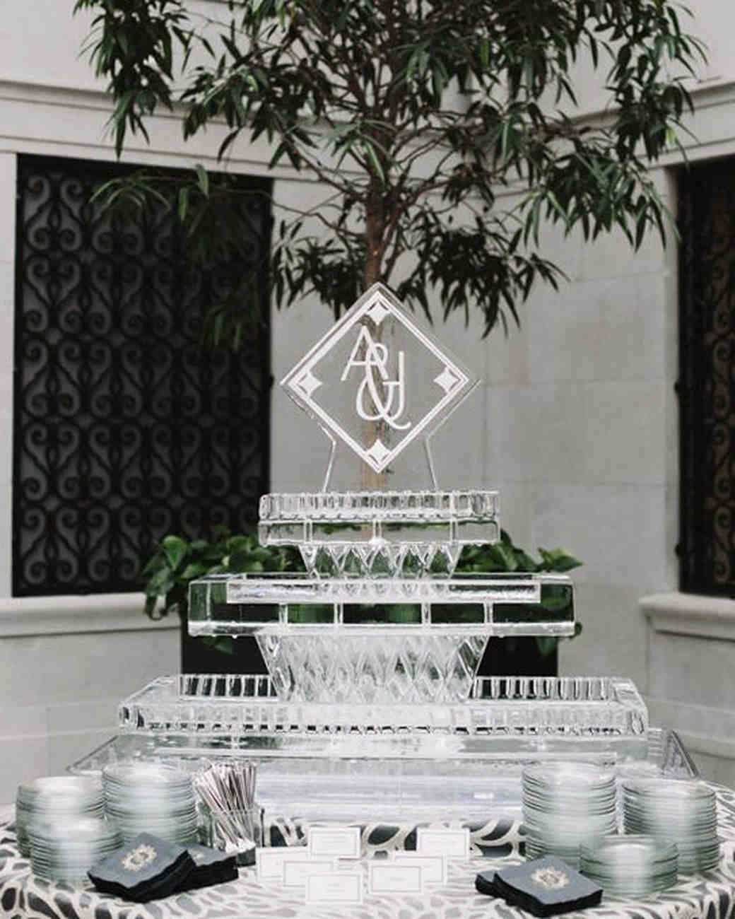 wedding ice sculpture tiered display for dishes