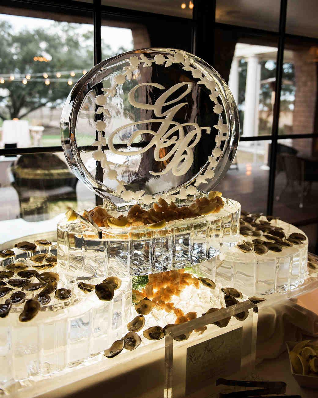 wedding ice sculpture monogrammed seafood display