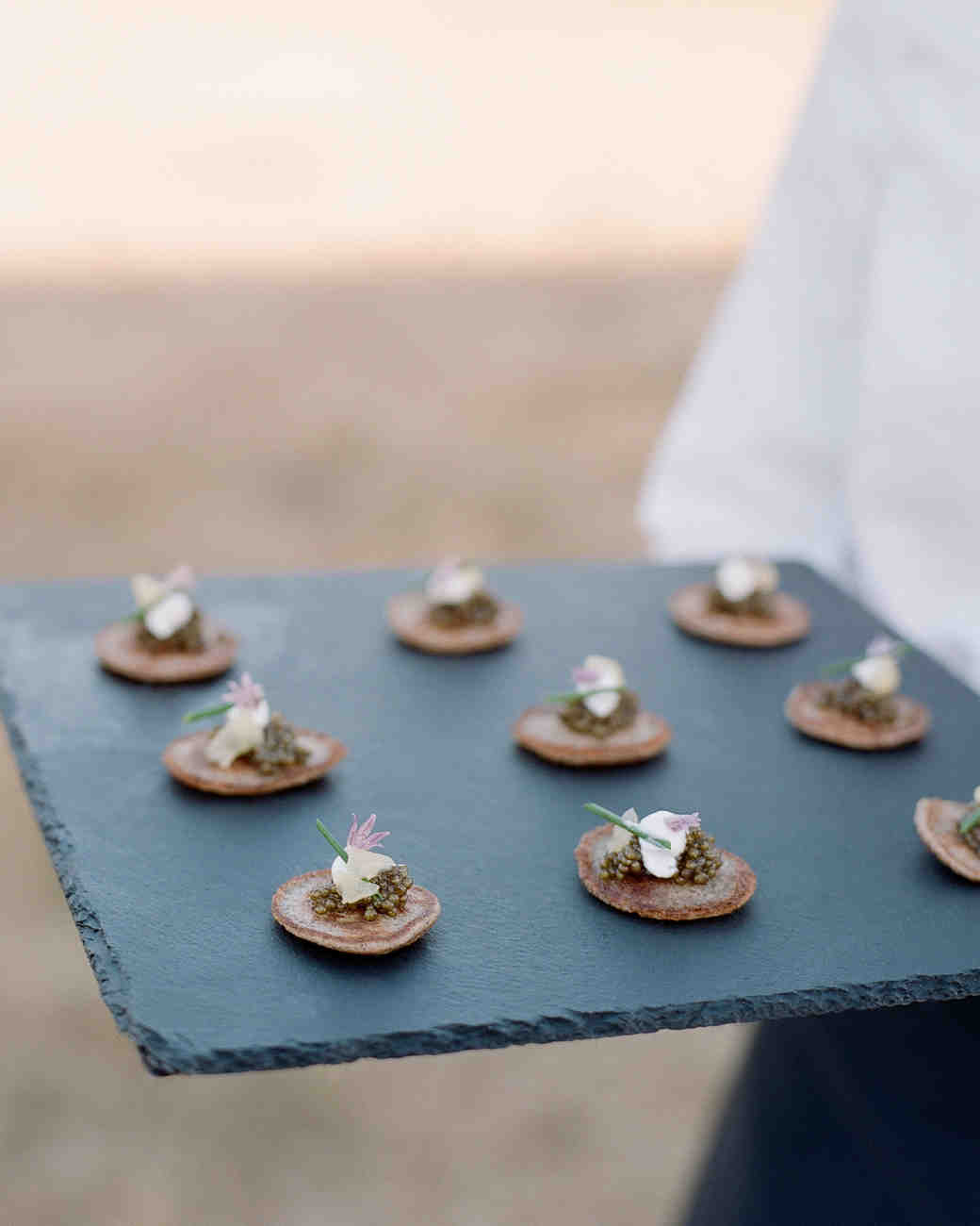 whitney zach wedding appetizer blini with caviar