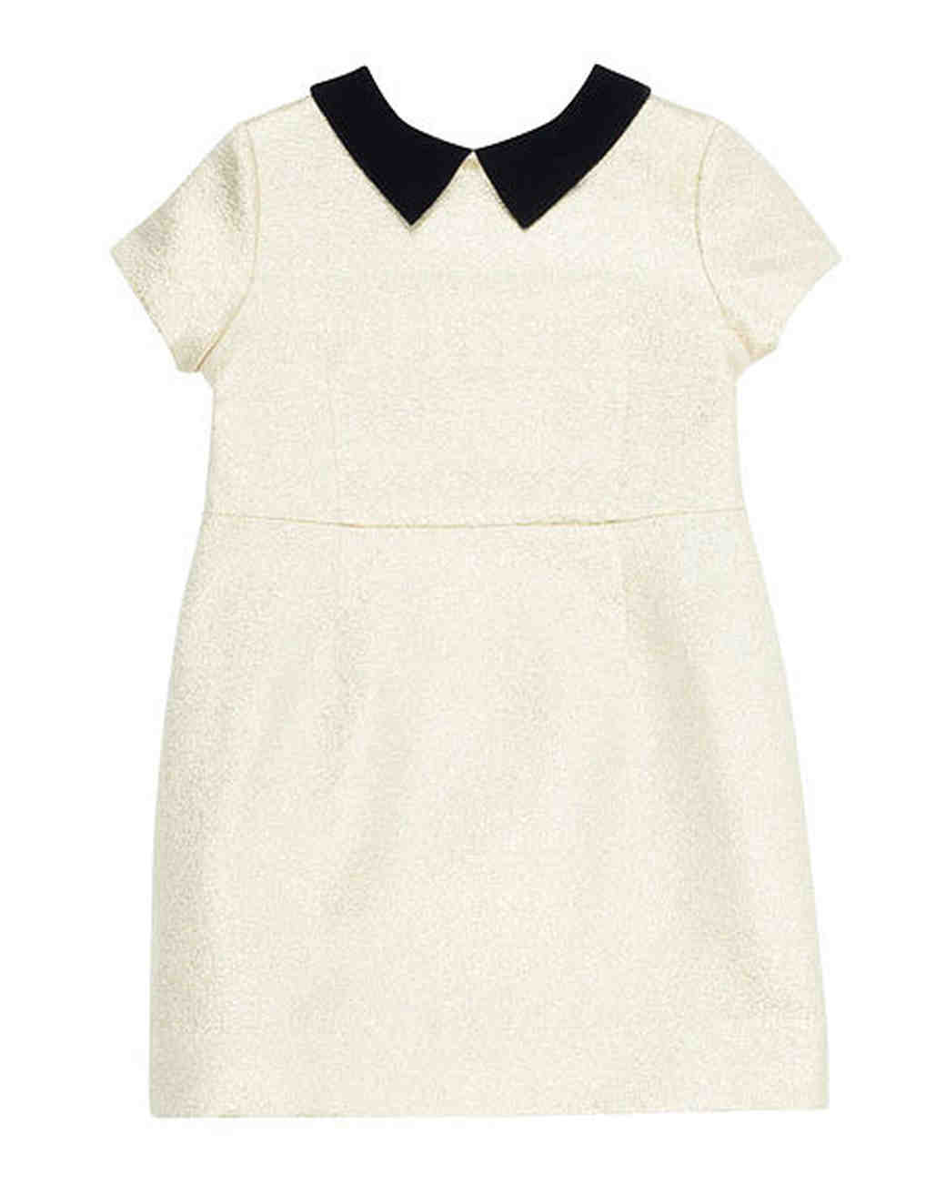 white flower girl dress black collar