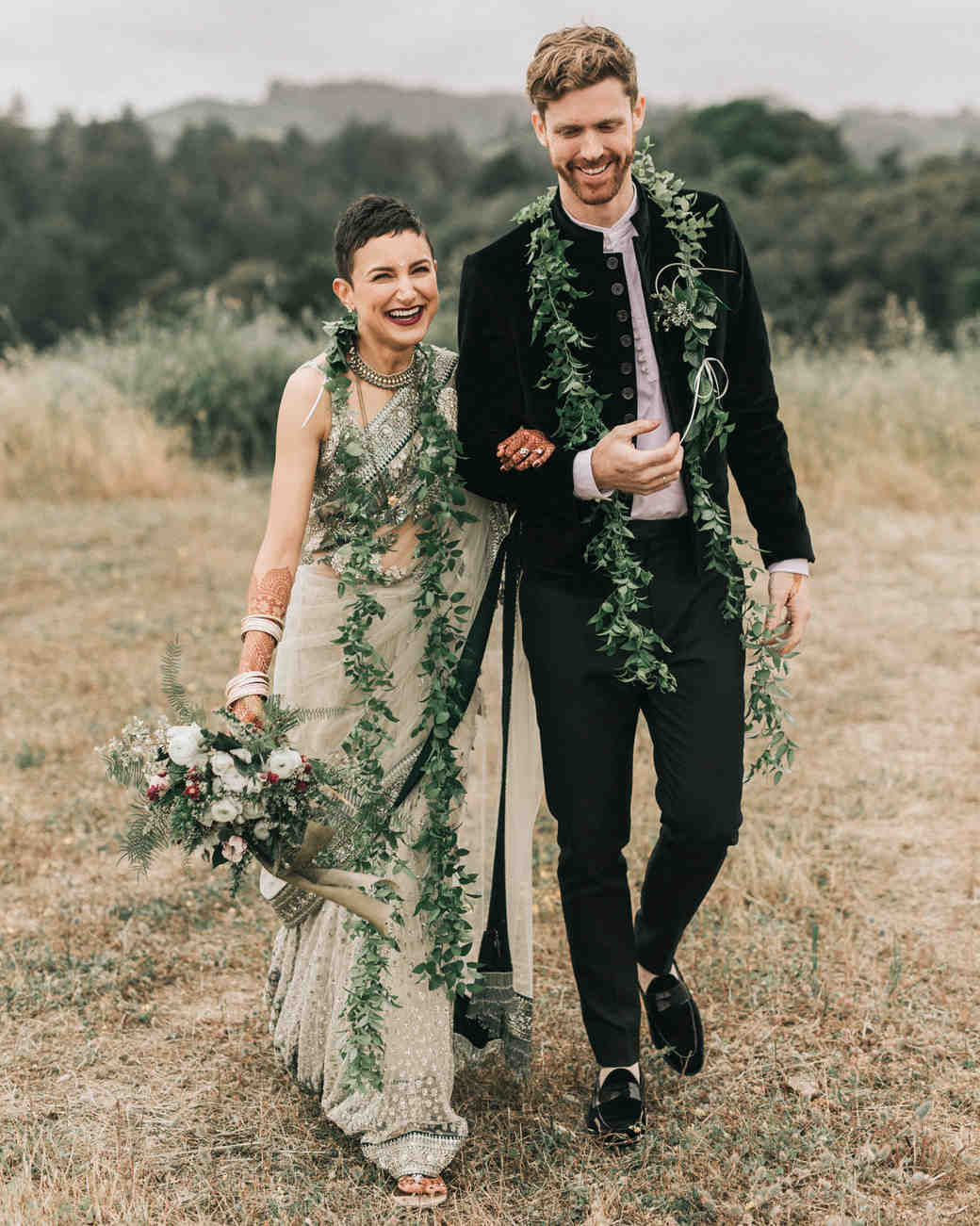 zai phil camping wedding couple smile arm in arm