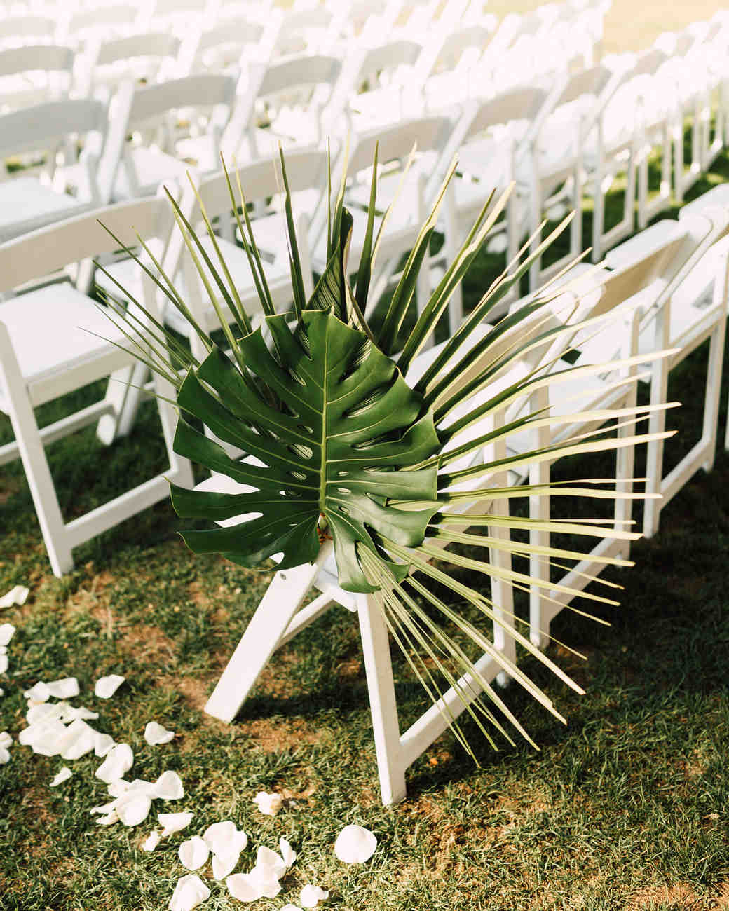 palm leaf chair decoration