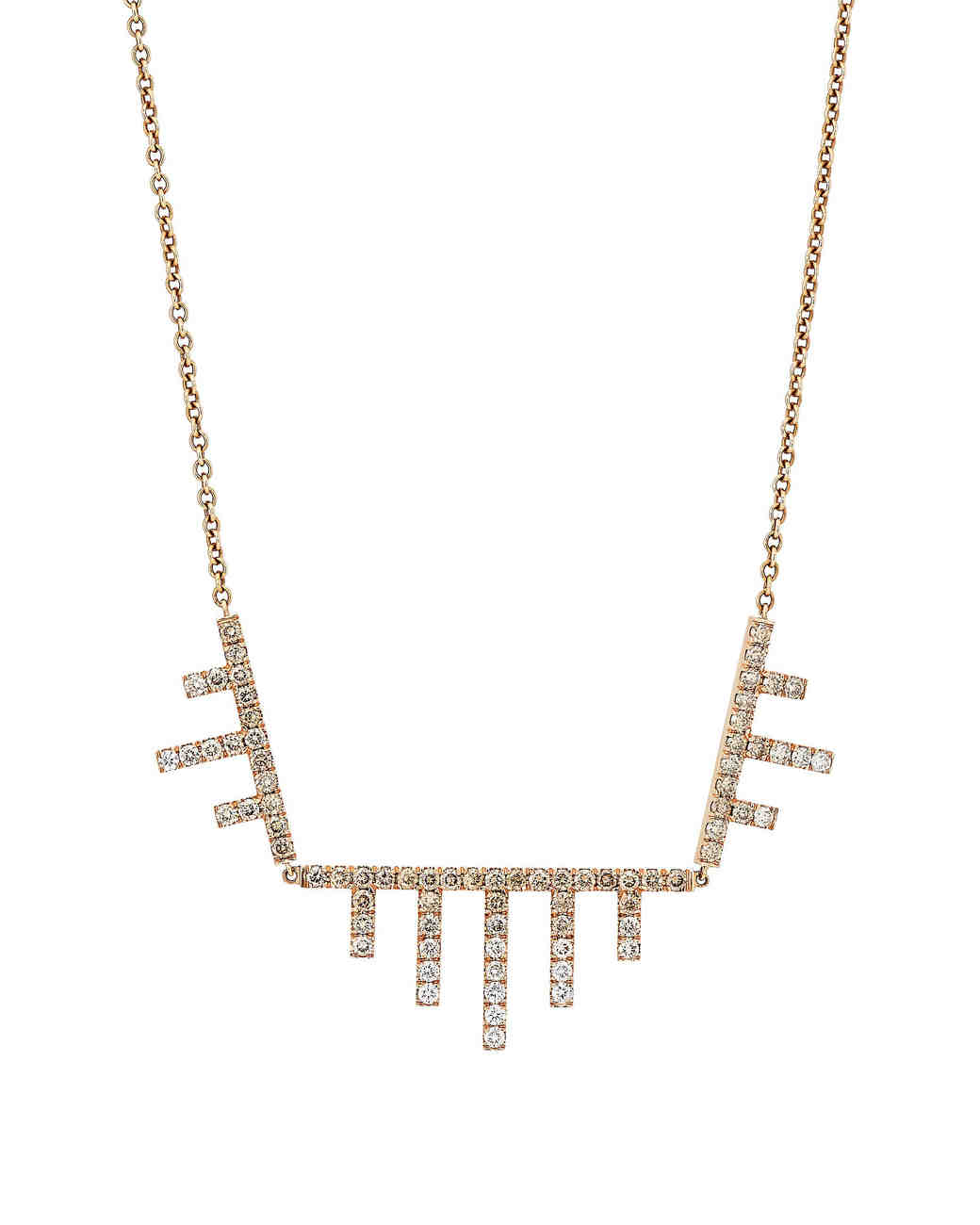 three diamond-encrusted geometric-shaped pendants cable chain