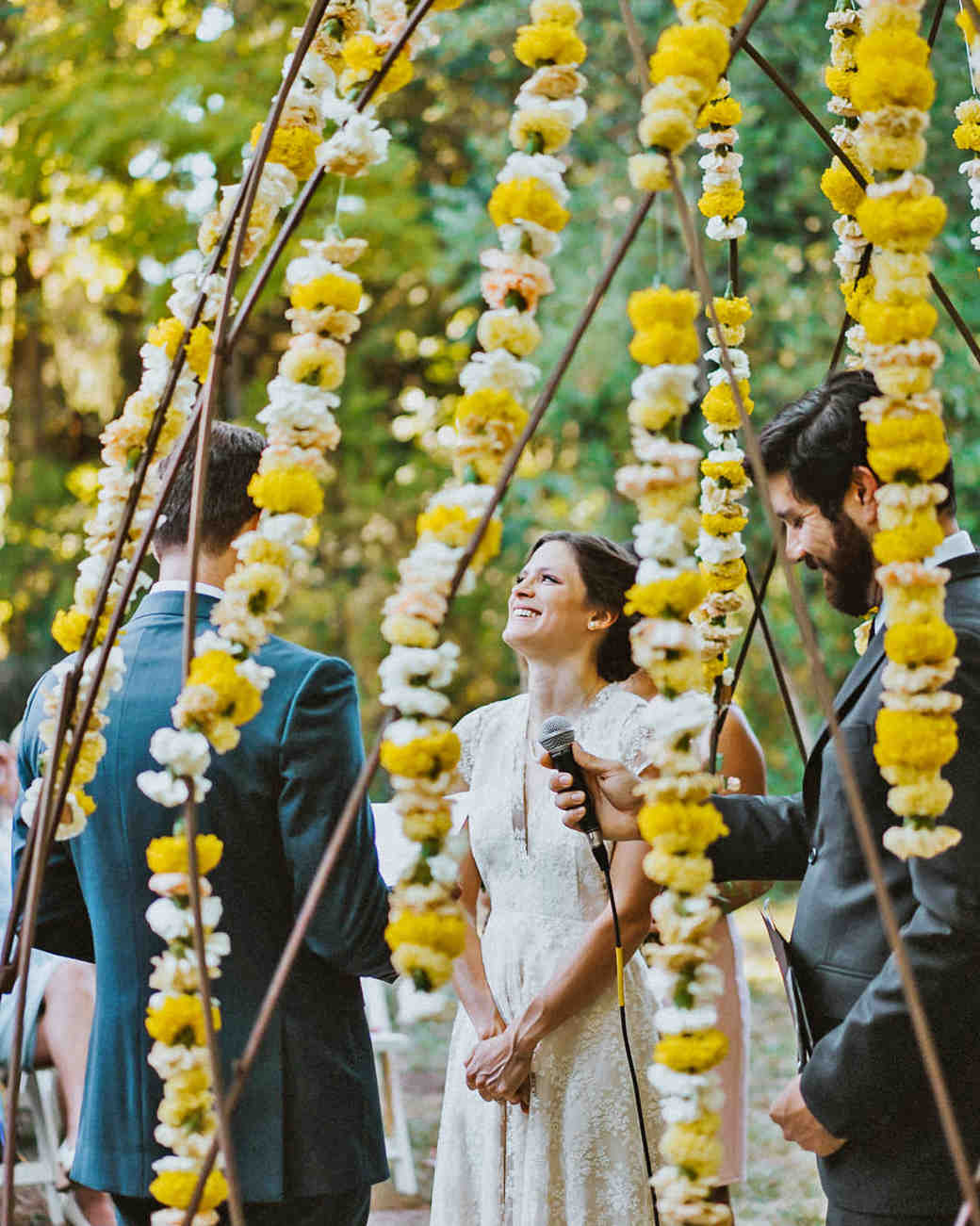 amy nick wedding ceremony yellow flowers