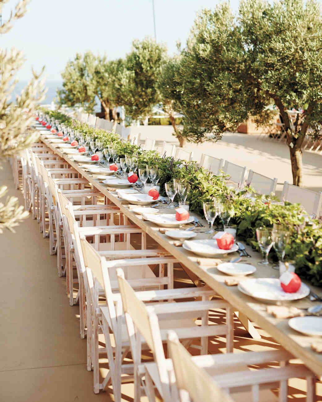 Long Neutral Reception Tables with Foliage Runner