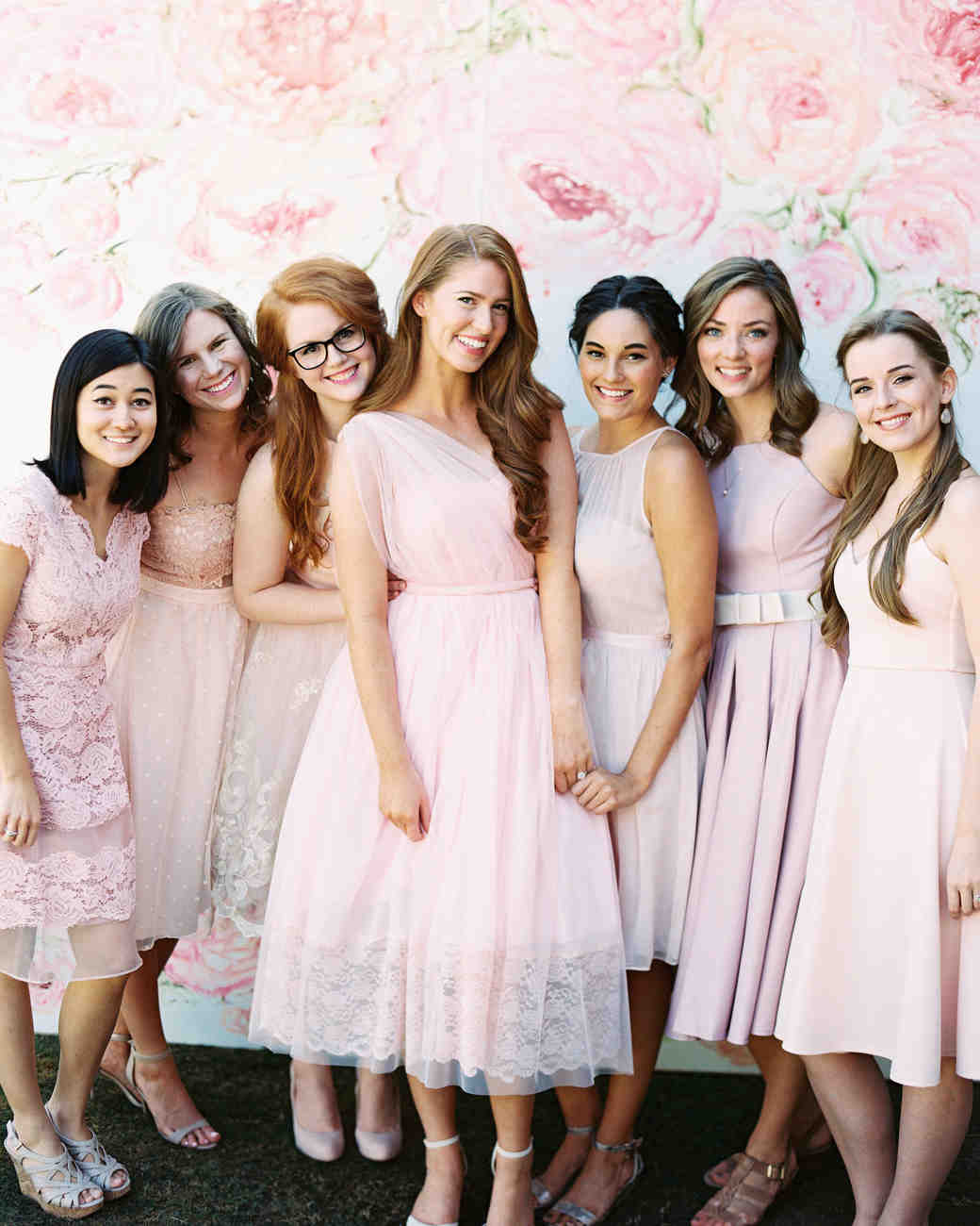 bridal shower guests wearing pink