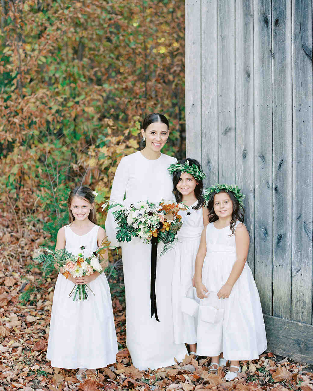 bride with wedding kids