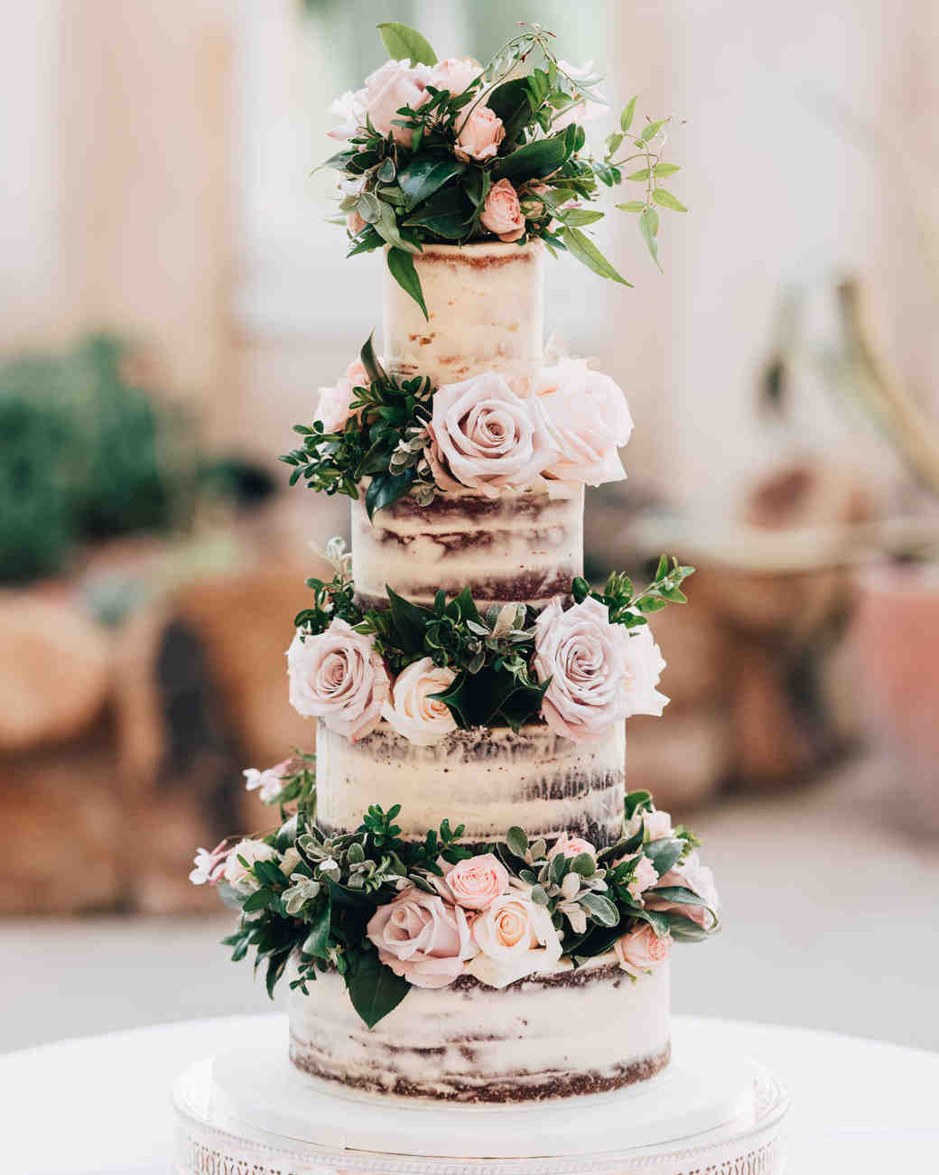 cakes with floral tiers romantic roses semi-naked
