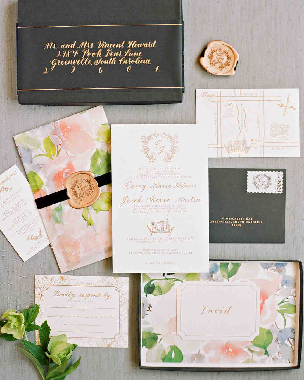 Gorgeous Floral Wedding Invitations | Martha Stewart Weddings