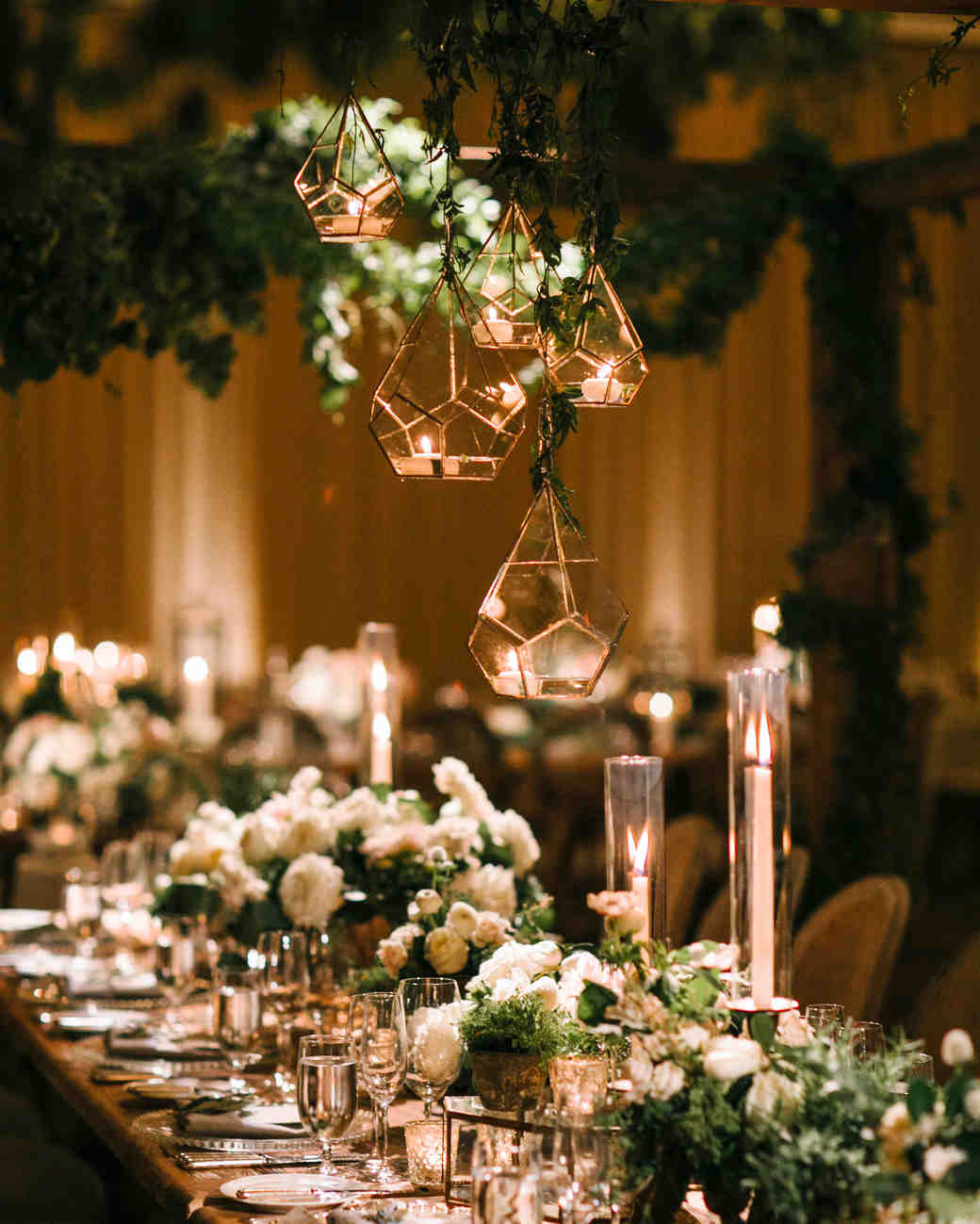 wedding chandelier glass facets with reflective light
