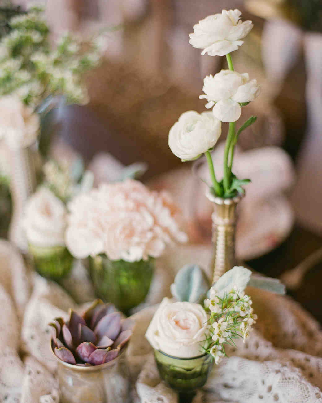Blush and White Cluster Centerpieces