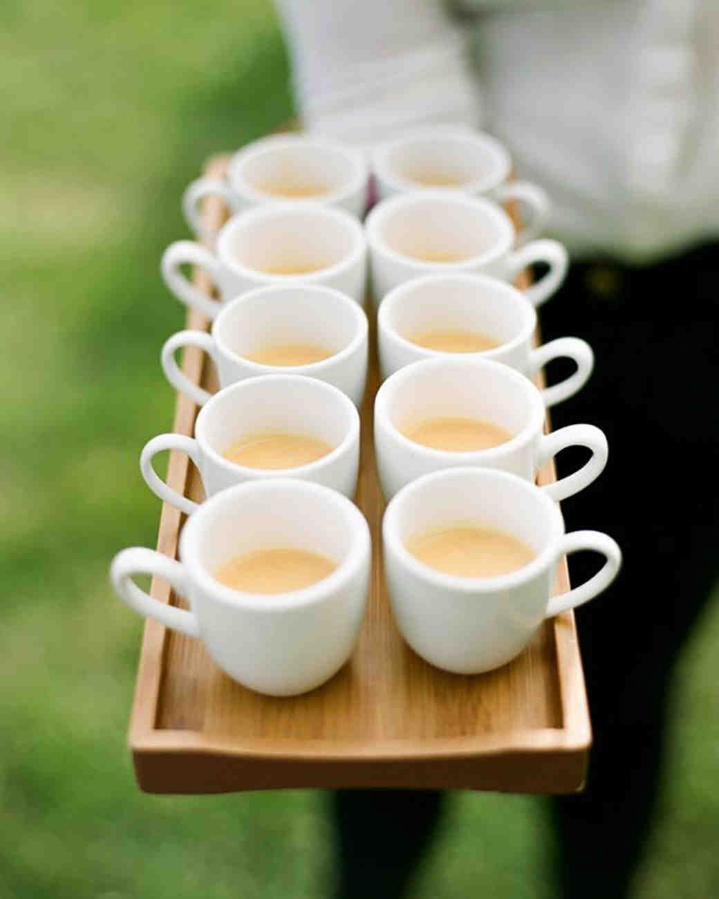 coffee wedding ideas tray of small white coffee mugs