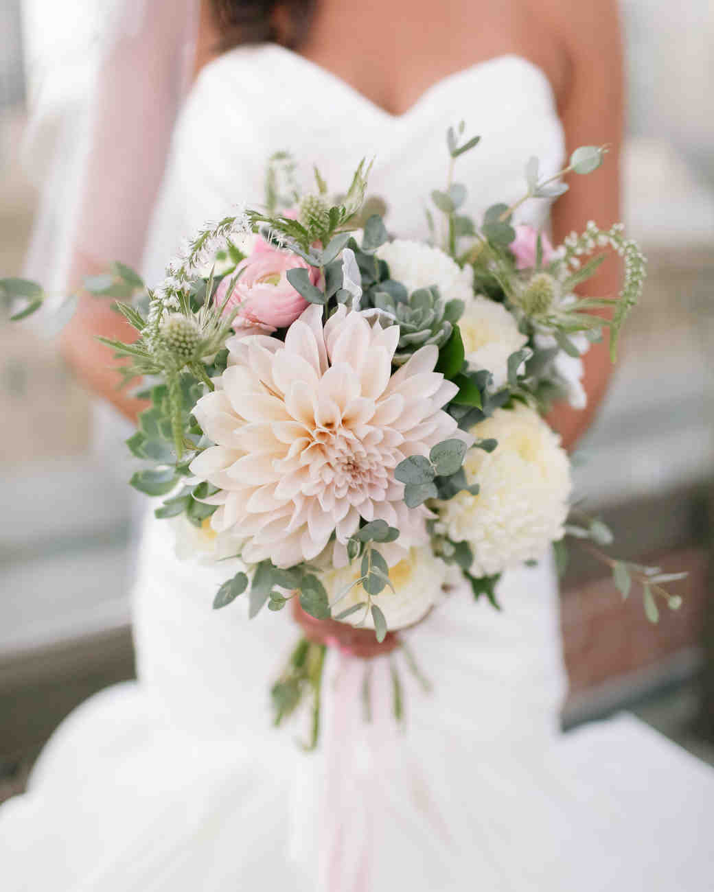 light pink and yellow dahlia wedding bouquet