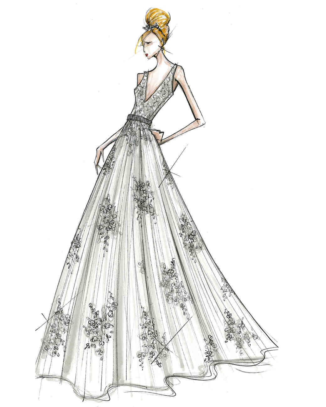 david's bridal wedding dress sketch