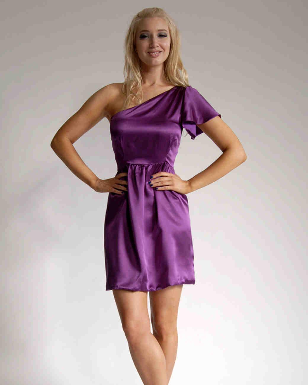 One Strap Purple Bridesmaid Dresses