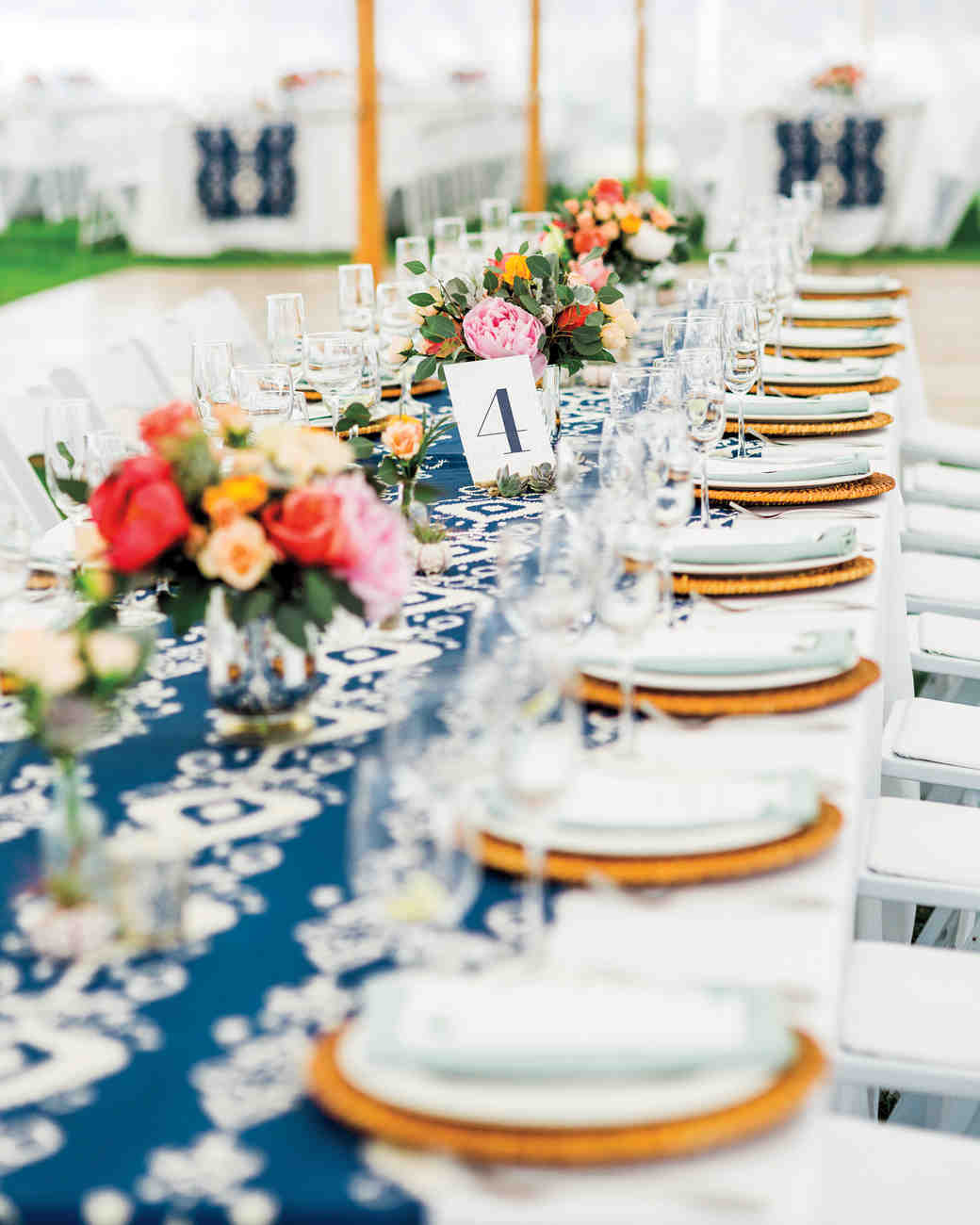Genial Long Reception Table With Blue Ikat Runner
