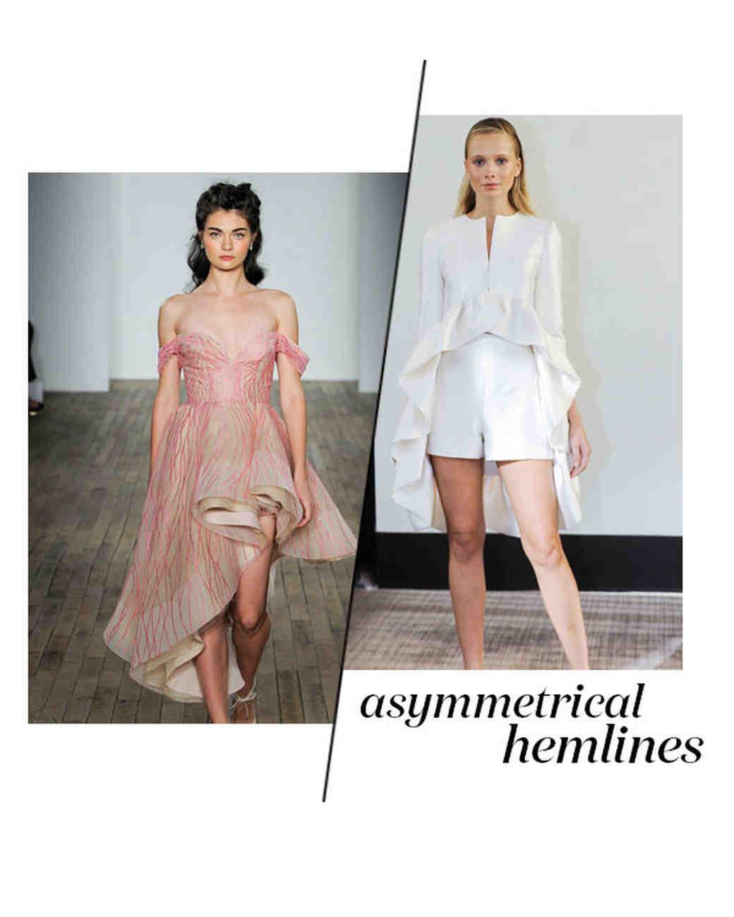 Fall 2018 Asymmetrical Wedding Dress trend