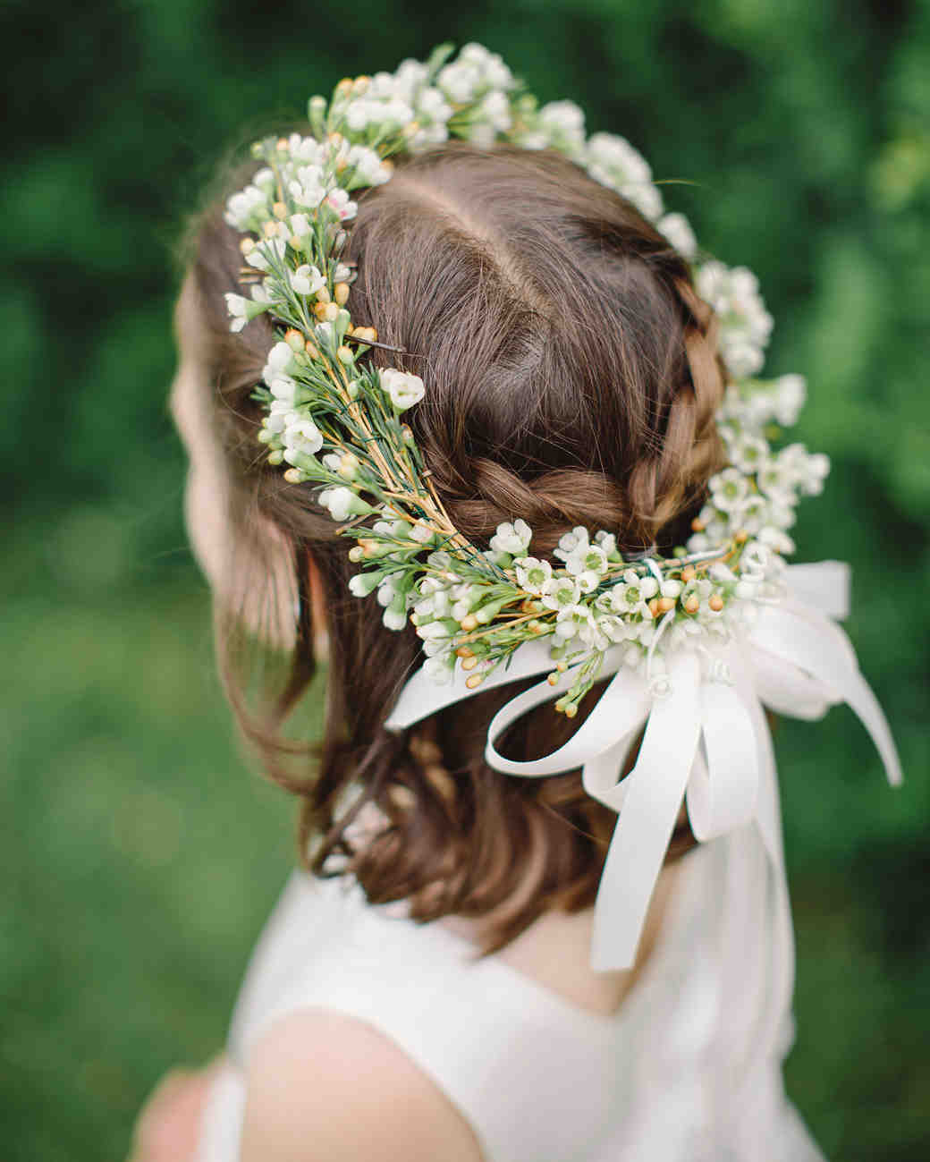 Flower Girl Hairstyle Crown Braid Half Up Half Down