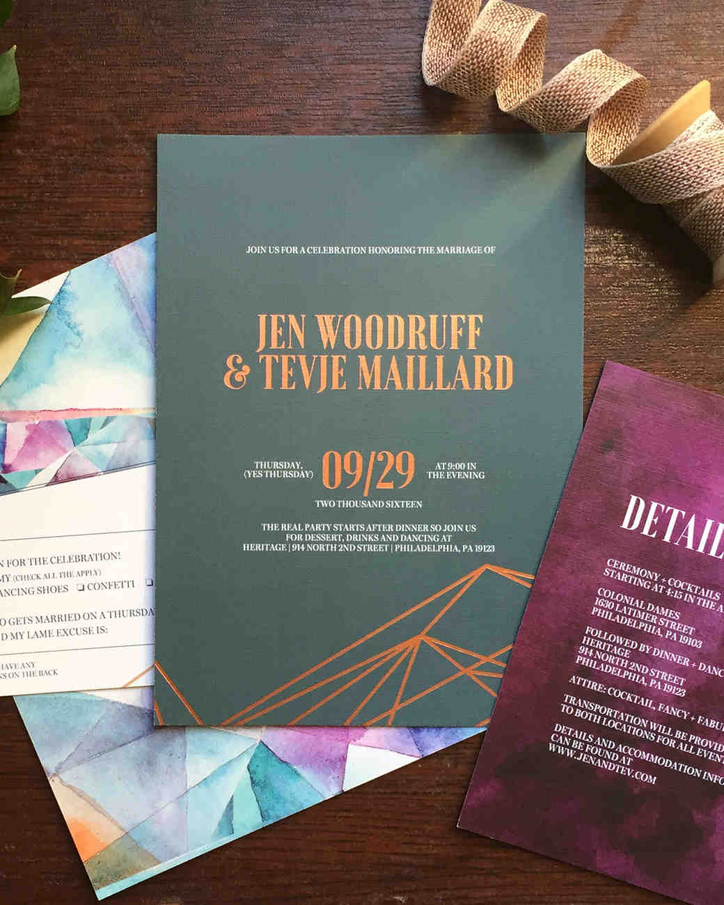 multicolor jewel tones geometric wedding invitations