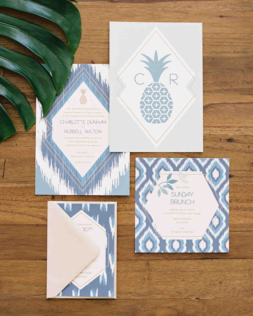 tropical boho wedding invitation
