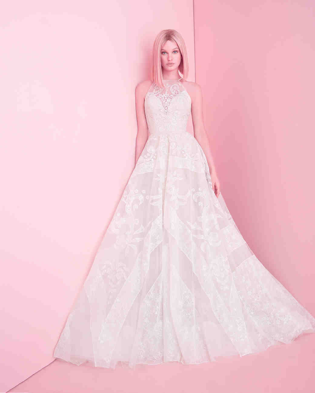hayley paige wedding dress spring 2019 lace ball gown high neckline