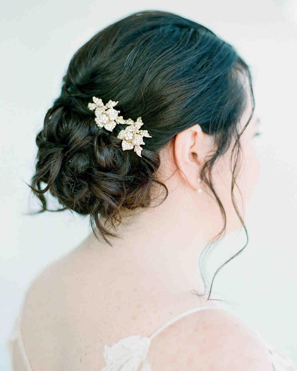 bride updo flower clip-ins