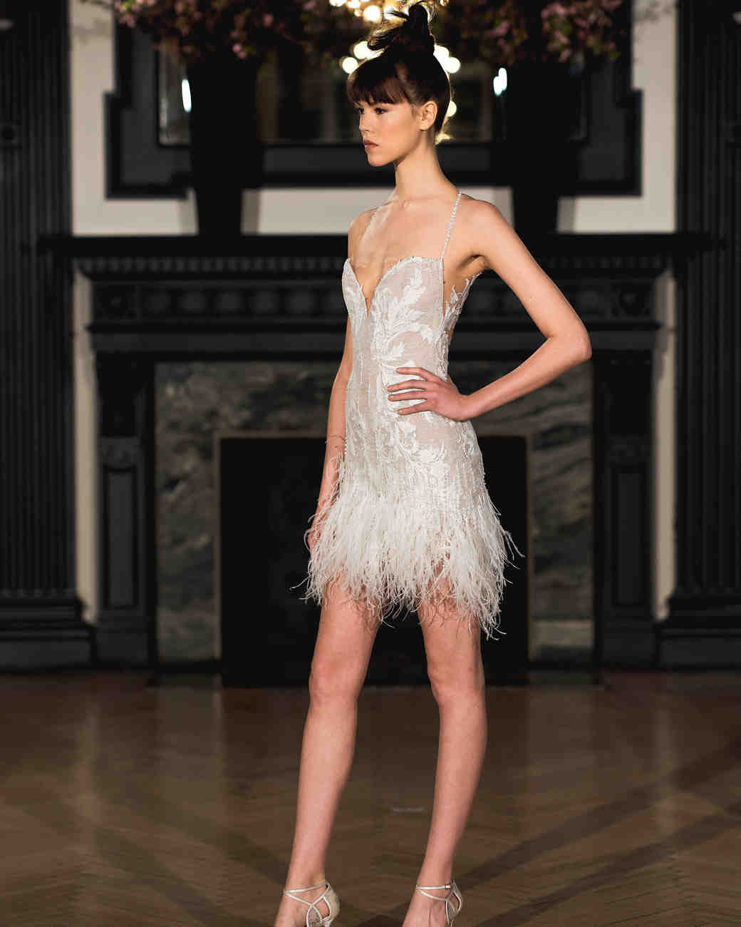 ines di santo wedding dress spring 2019 short feathered