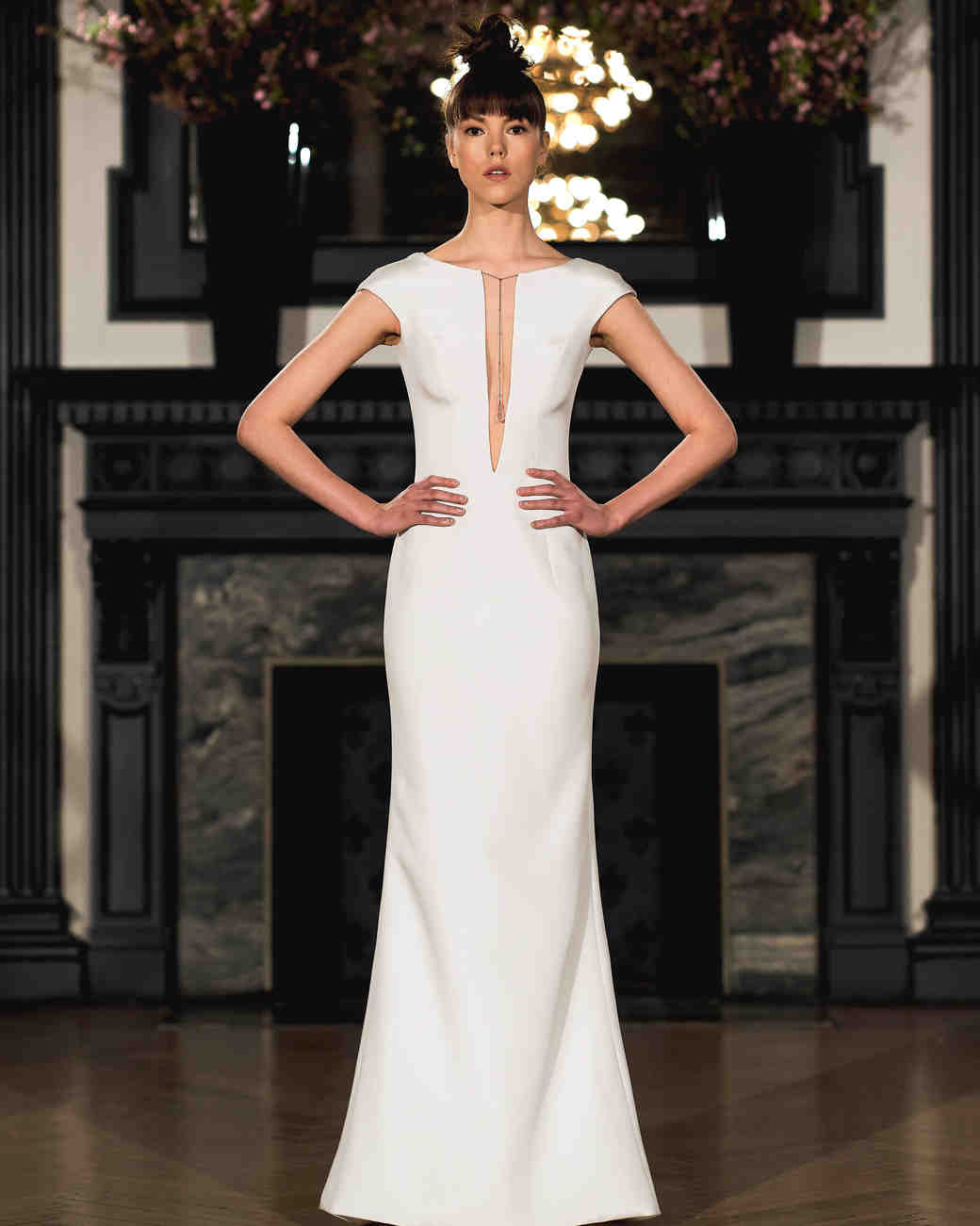 ines di santo wedding dress spring 2019 sheath cap sleeve