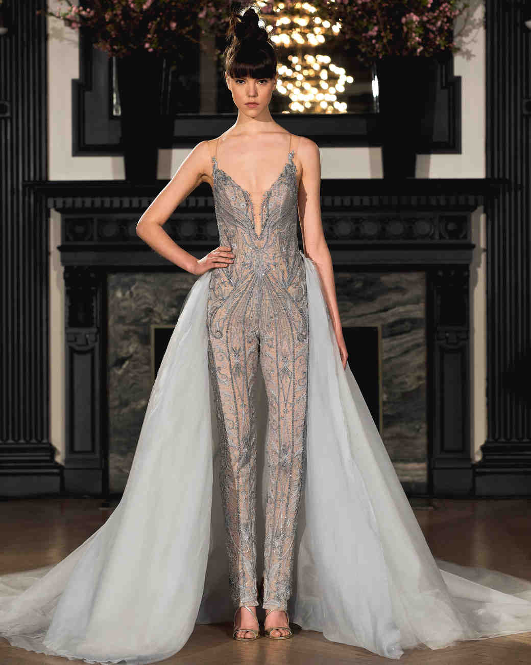 ines di santo wedding dress spring 2019 gray beaded pants