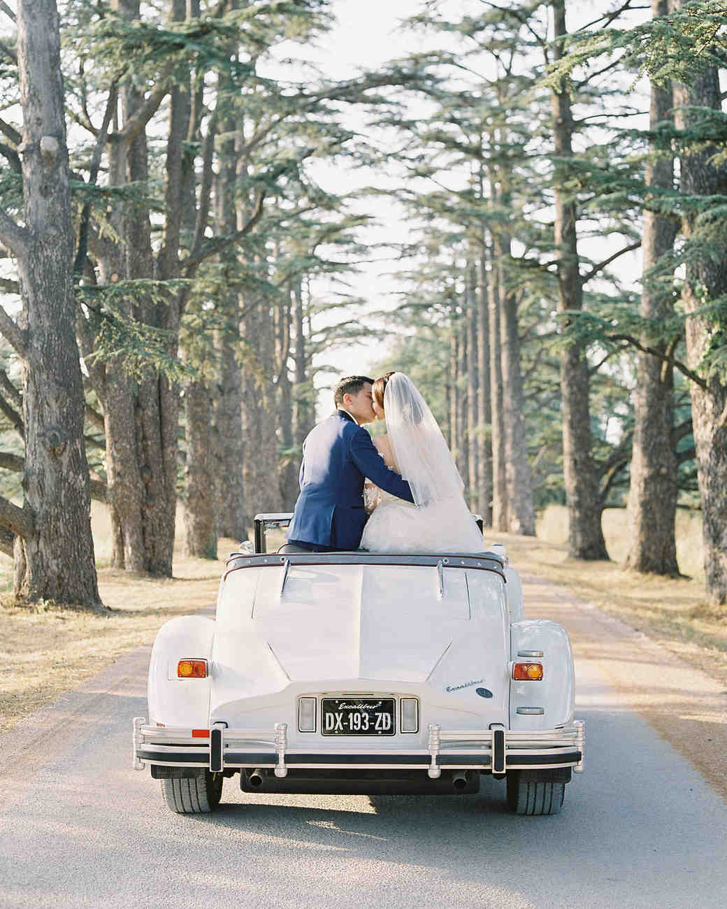 janet patrick wedding couple in vintage car